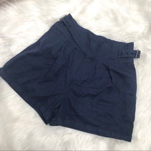 Urban Outfitters Linen Blend Shorts Navy Blue Sz S